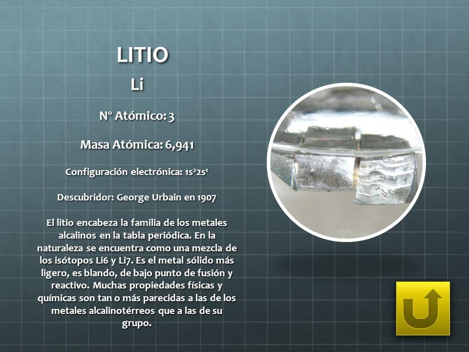 LITIO Li Nº Atómico: 3 Masa Atómica: 6,941 Configuración electrónica: 1s 2 2s 1 Descubridor: George Urbain en 1907 El litio encabeza la familia de los