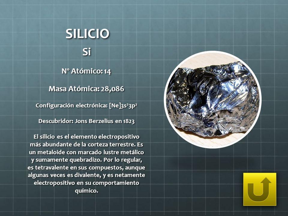 SILICIO Si Nº Atómico: 14 Masa Atómica: 28,086 Configuración electrónica: [Ne]3s 2 3p 2 Descubridor: Jons Berzelius en 1823 El silicio es el elemento