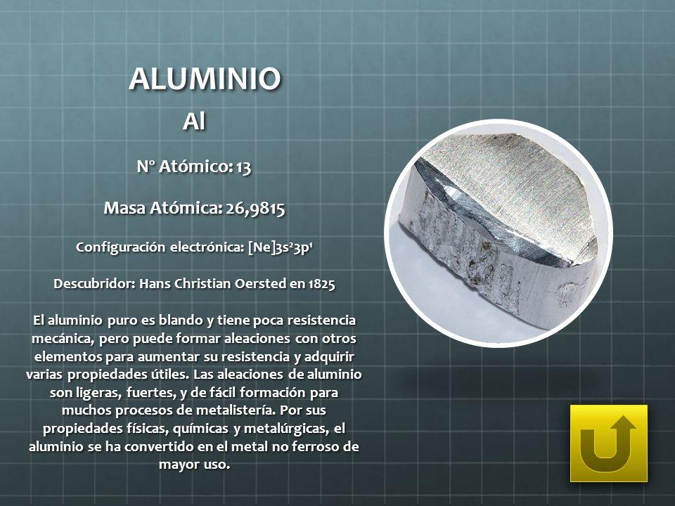 ALUMINIO Al Nº Atómico: 13 Masa Atómica: 26,9815 Configuración electrónica: [Ne]3s 2 3p 1 Descubridor: Hans Christian Oersted en 1825 El aluminio puro