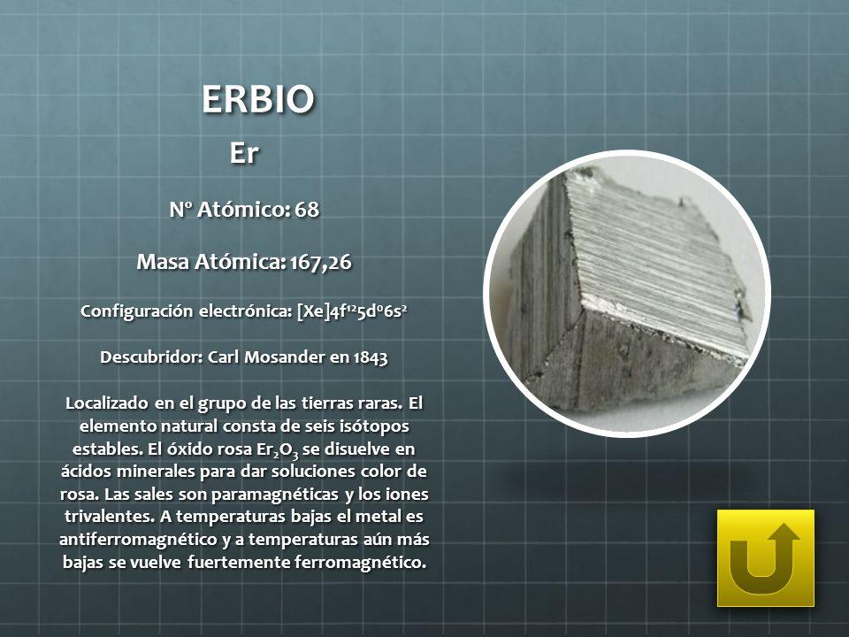 ERBIO Er Nº Atómico: 68 Masa Atómica: 167,26 Configuración electrónica: [Xe]4f 12 5d 0 6s 2 Descubridor: Carl Mosander en 1843 Localizado en el grupo