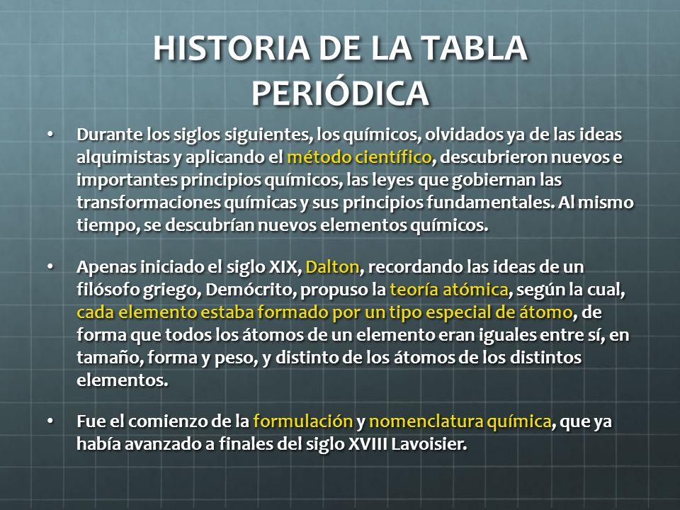 HISTORIA DE LA TABLA PERIÓDICA Durante los siglos siguientes, los químicos, olvidados ya de las ideas alquimistas y aplicando el método científico, de
