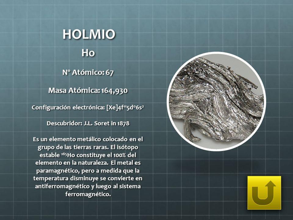 HOLMIO Ho Nº Atómico: 67 Masa Atómica: 164,930 Configuración electrónica: [Xe]4f 11 5d 0 6s 2 Descubridor: J.L. Soret in 1878 Es un elemento metálico