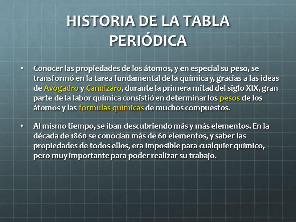 HISTORIA DE LA TABLA PERIÓDICA Conocer las propiedades de los átomos, y en especial su peso, se transformó en la tarea fundamental de la química y, gr