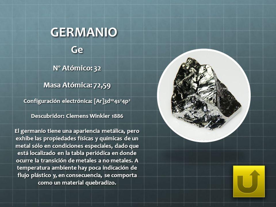 GERMANIO Ge Nº Atómico: 32 Masa Atómica: 72,59 Configuración electrónica: [Ar]3d 10 4s 2 4p 2 Descubridor: Clemens Winkler 1886 El germanio tiene una