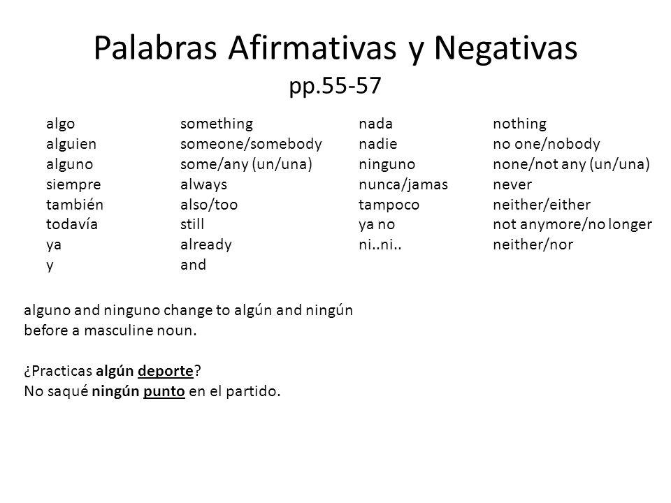 Palabras Afirmativas y Negativas también vs.tampoco Carlos habla español.Yo también.So do I.