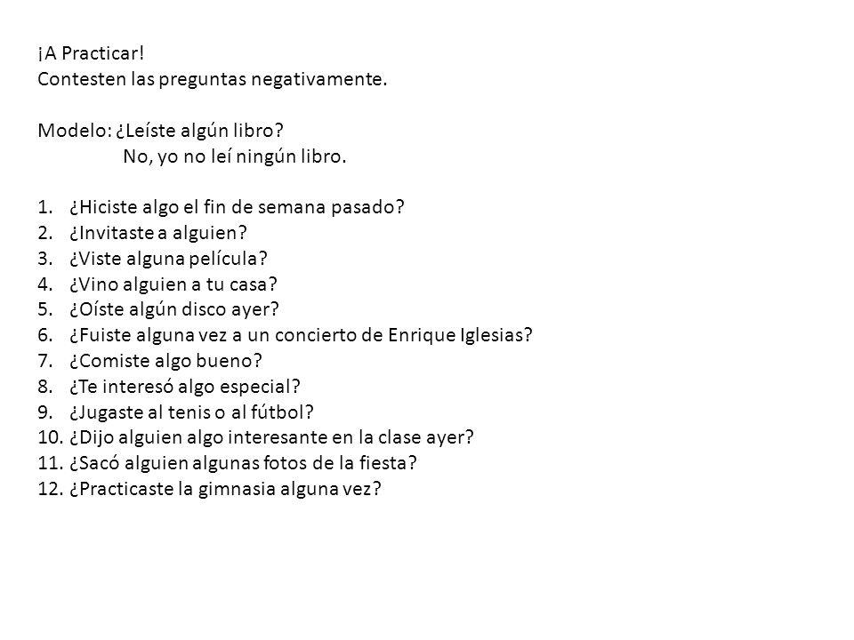 Para Practicar palabras afirmativas y negativas A Spanish Study Guide Spanish Dict.