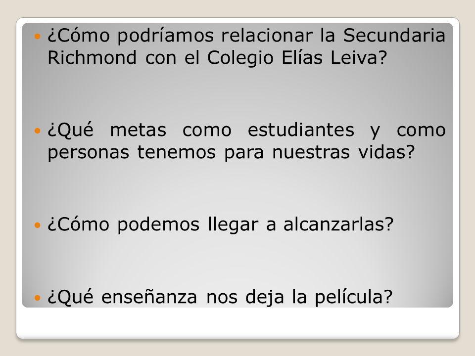 ¿Cómo podríamos relacionar la Secundaria Richmond con el Colegio Elías Leiva.