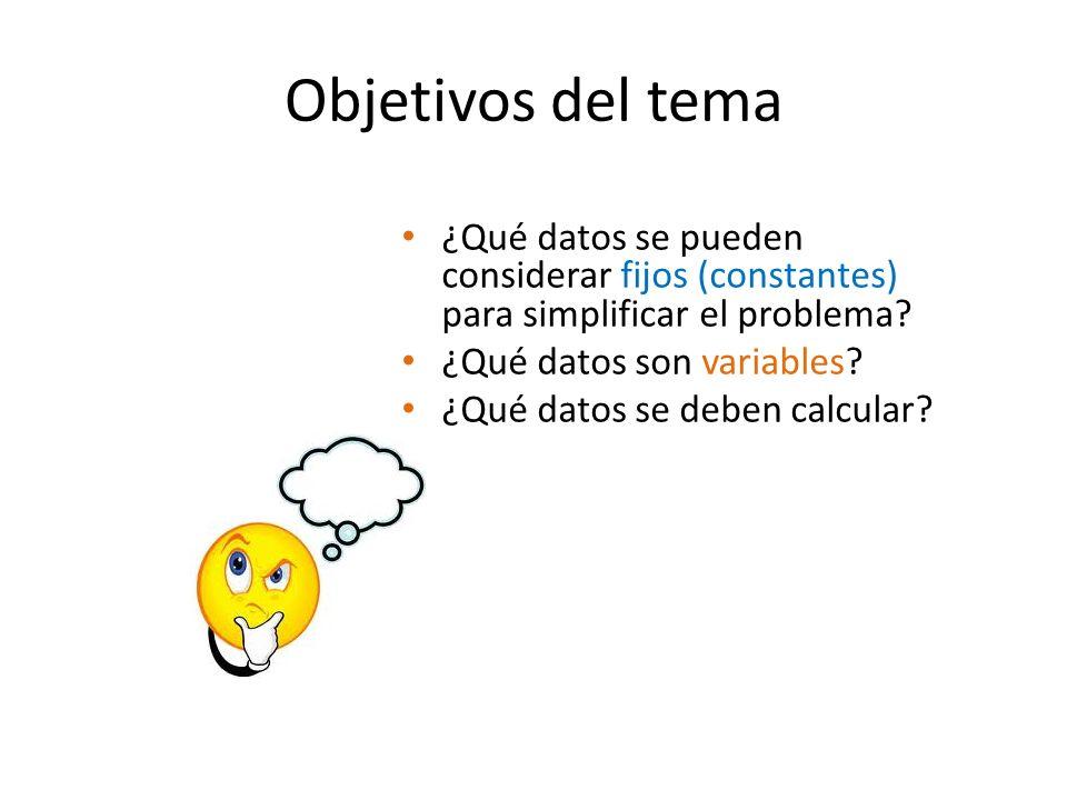 Objetivos del tema ¿Qué datos se pueden considerar fijos (constantes) para simplificar el problema? ¿Qué datos son variables? ¿Qué datos se deben calc