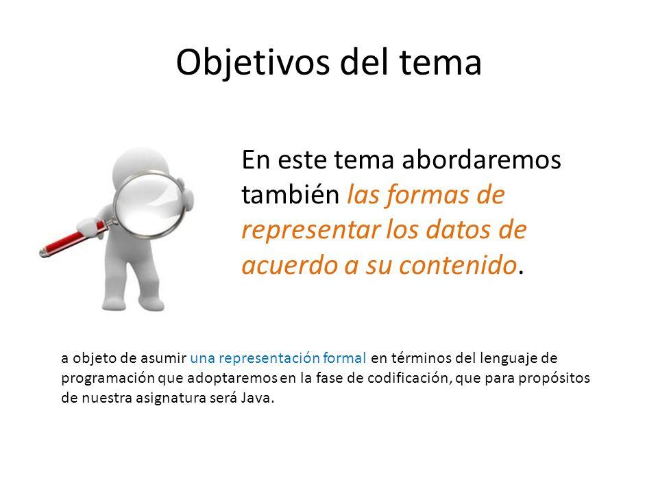 Objetivos del tema En este tema abordaremos también las formas de representar los datos de acuerdo a su contenido. a objeto de asumir una representaci