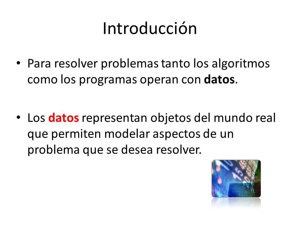 Introducción Para resolver problemas tanto los algoritmos como los programas operan con datos. Los datos representan objetos del mundo real que permit