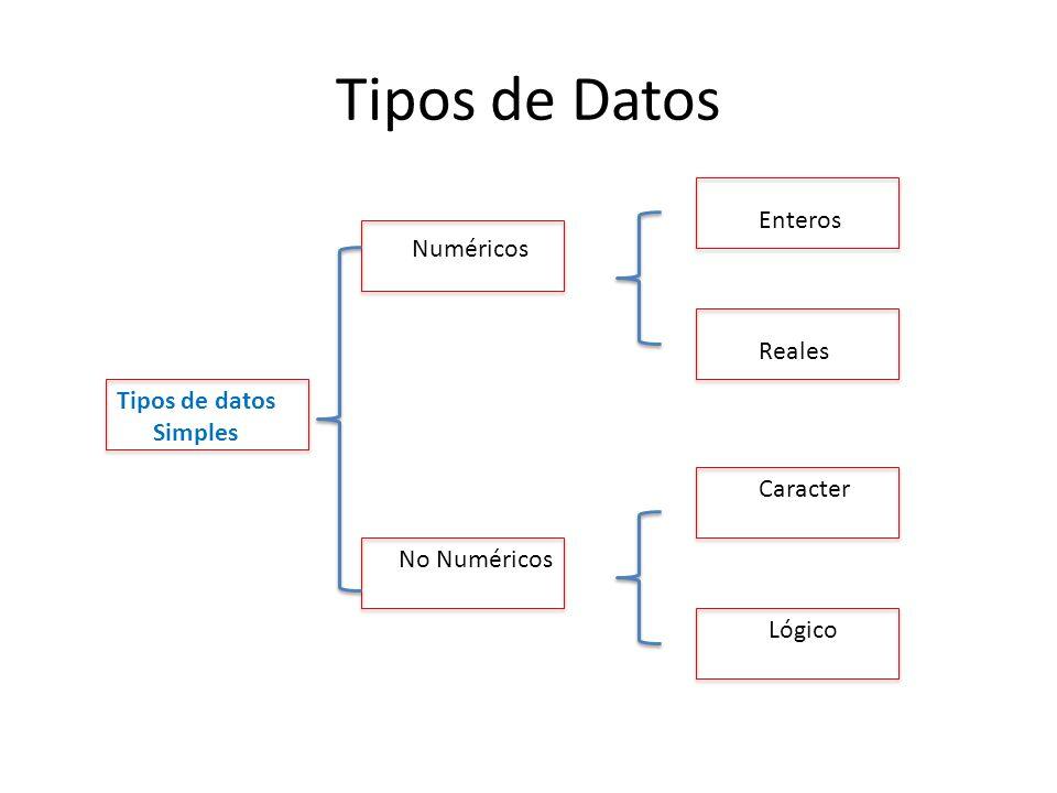 Tipos de Datos Tipos de datos Simples Enteros Numéricos Reales Caracter Lógico No Numéricos