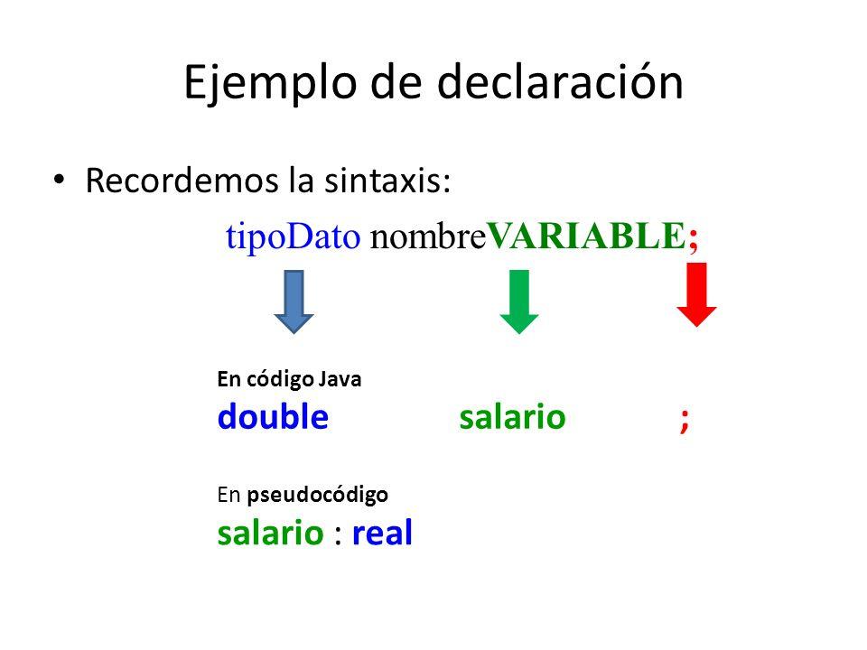 Ejemplo de declaración Recordemos la sintaxis: tipoDato nombreVARIABLE; En pseudocódigo salario : real En código Java double salario ;
