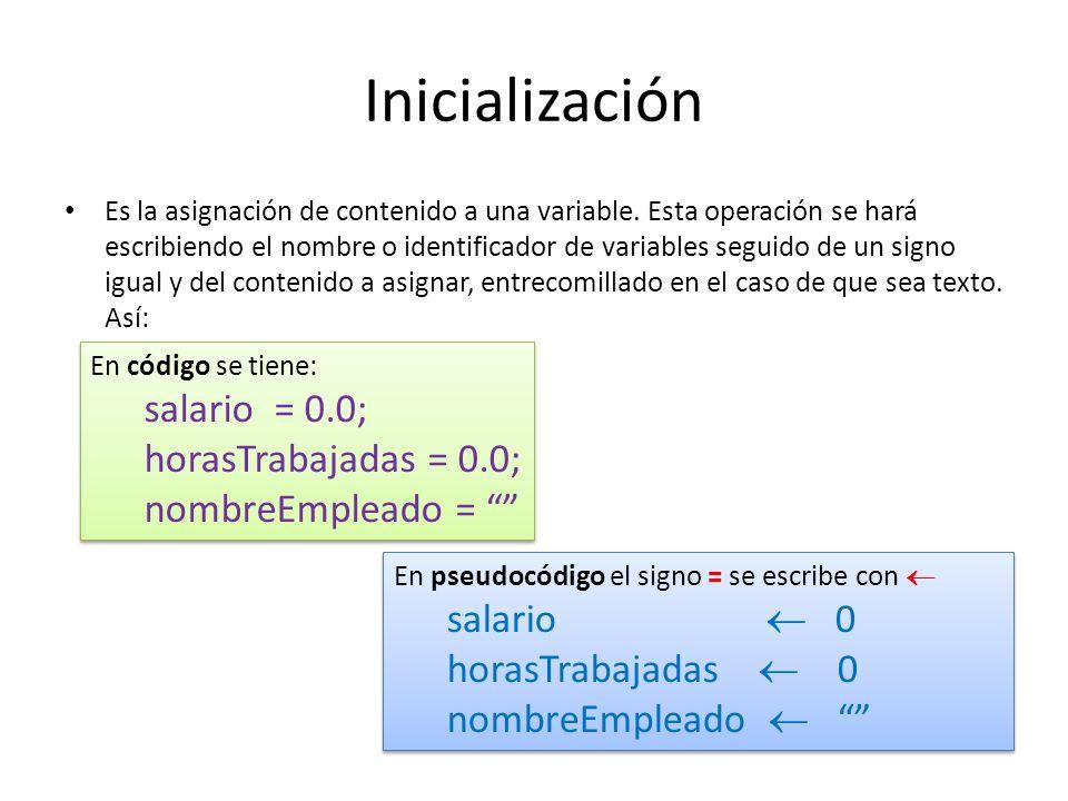 Inicialización Es la asignación de contenido a una variable. Esta operación se hará escribiendo el nombre o identificador de variables seguido de un s