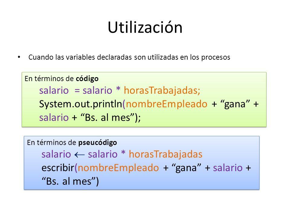 Utilización Cuando las variables declaradas son utilizadas en los procesos En términos de código salario = salario * horasTrabajadas; System.out.print
