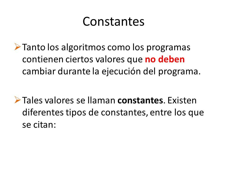 Constantes Tanto los algoritmos como los programas contienen ciertos valores que no deben cambiar durante la ejecución del programa. Tales valores se