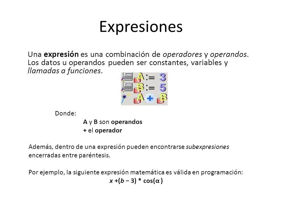 Expresiones Una expresión es una combinación de operadores y operandos. Los datos u operandos pueden ser constantes, variables y llamadas a funciones.