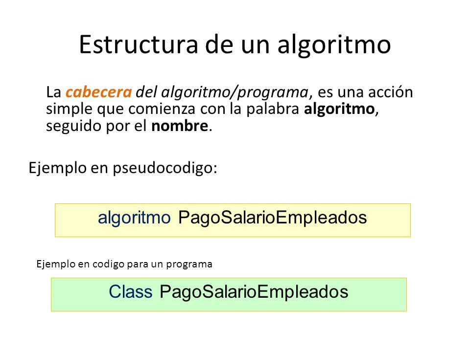 Estructura de un algoritmo La cabecera del algoritmo/programa, es una acción simple que comienza con la palabra algoritmo, seguido por el nombre. Ejem