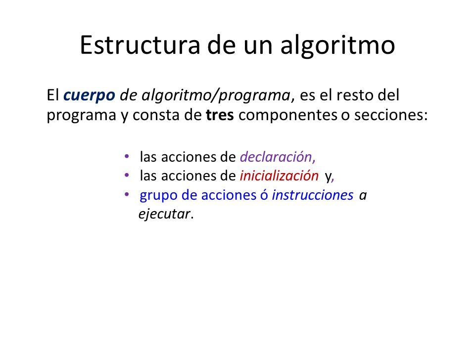 Estructura de un algoritmo El cuerpo de algoritmo/programa, es el resto del programa y consta de tres componentes o secciones: las acciones de declara