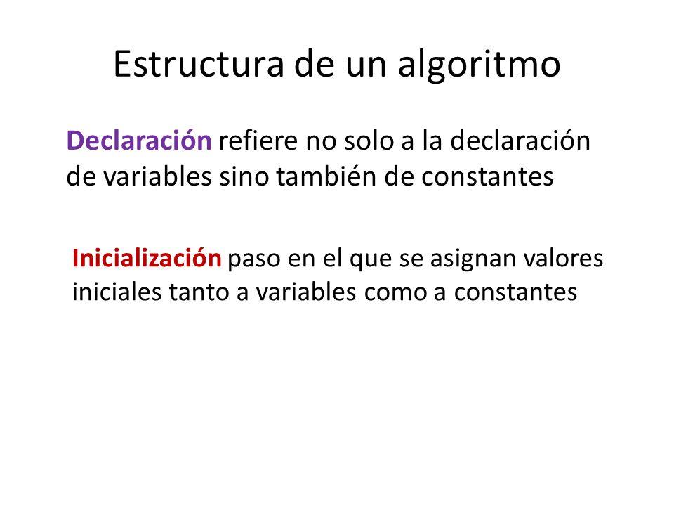Estructura de un algoritmo Declaración refiere no solo a la declaración de variables sino también de constantes Inicialización paso en el que se asign