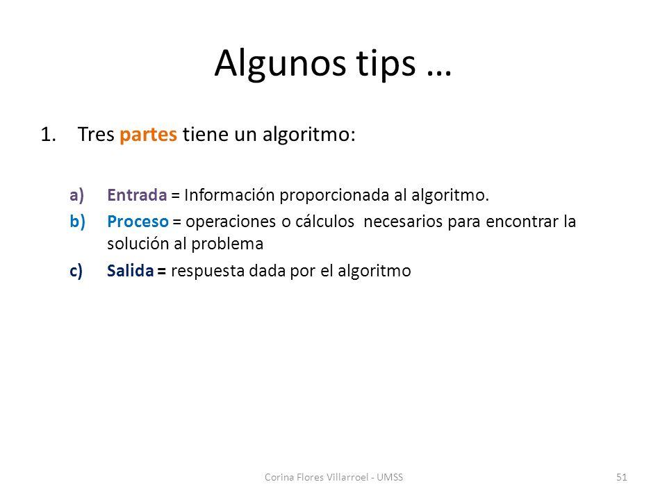 Algunos tips … 1.Tres partes tiene un algoritmo: a)Entrada = Información proporcionada al algoritmo. b)Proceso = operaciones o cálculos necesarios par