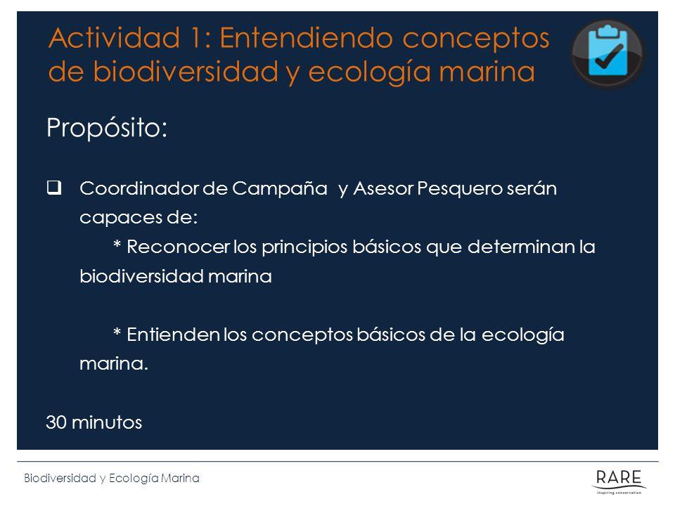 Biodiversidad y Ecología Marina Actividad 1: Entendiendo conceptos de biodiversidad y ecología marina Propósito: Coordinador de Campaña y Asesor Pesqu