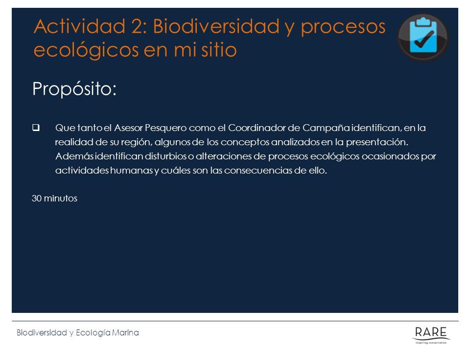Actividad 2: Biodiversidad y procesos ecológicos en mi sitio Propósito: Que tanto el Asesor Pesquero como el Coordinador de Campaña identifican, en la