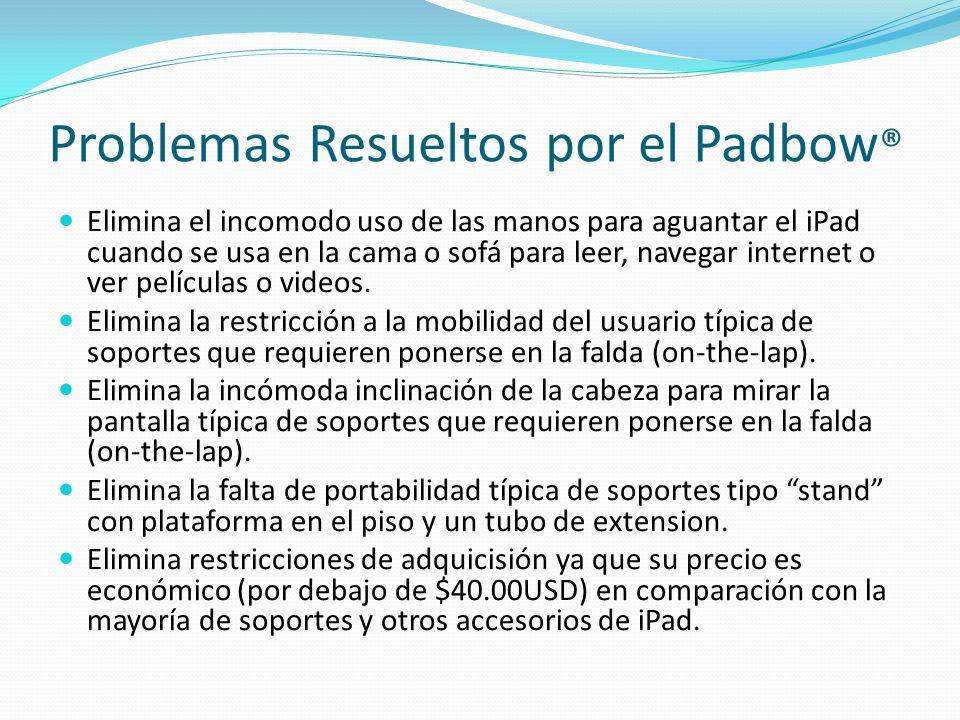 Problemas Resueltos por el Padbow ® Elimina el incomodo uso de las manos para aguantar el iPad cuando se usa en la cama o sofá para leer, navegar inte
