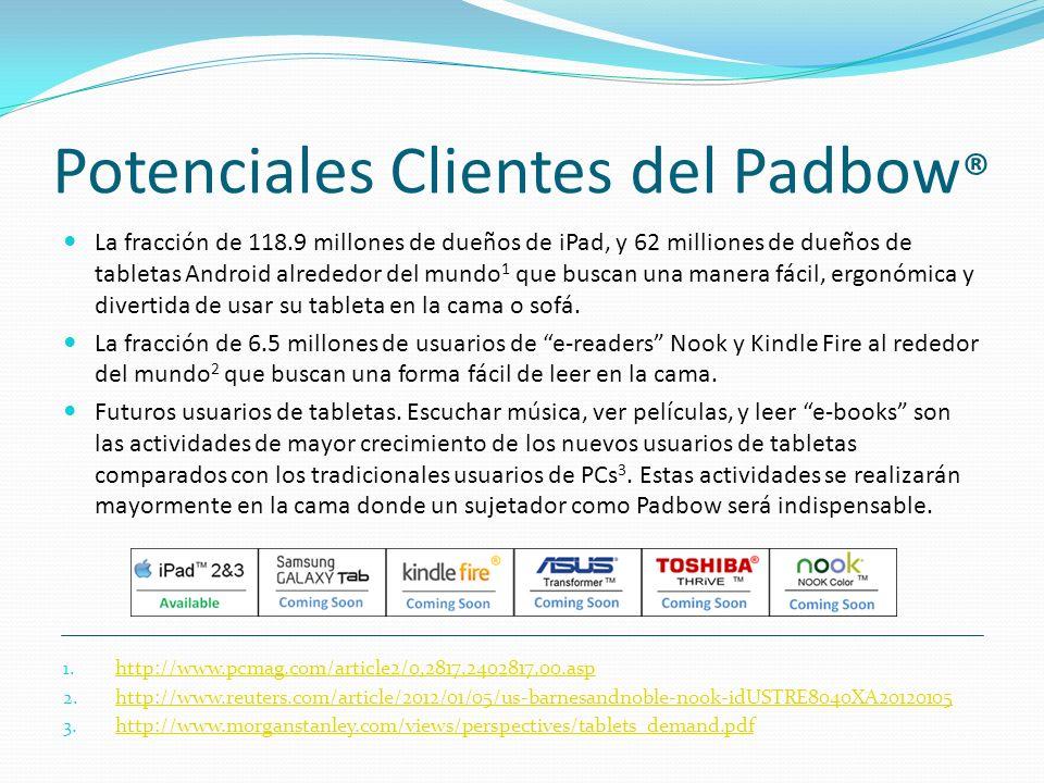 Potenciales Clientes del Padbow ® La fracción de 118.9 millones de dueños de iPad, y 62 milliones de dueños de tabletas Android alrededor del mundo 1