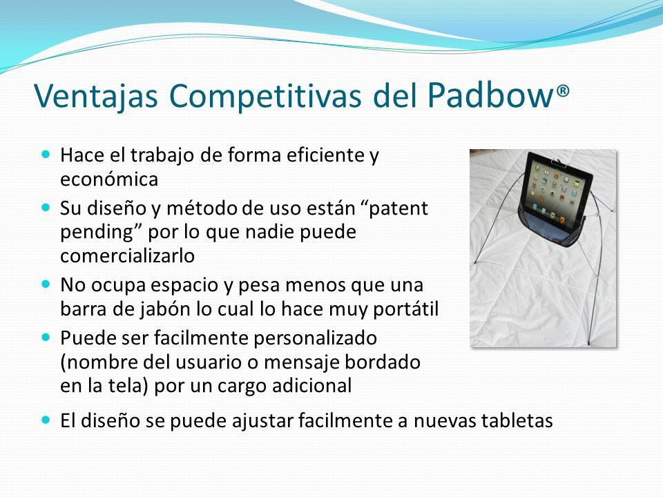 Ventajas Competitivas del Padbow ® Hace el trabajo de forma eficiente y económica Su diseño y método de uso están patent pending por lo que nadie pued