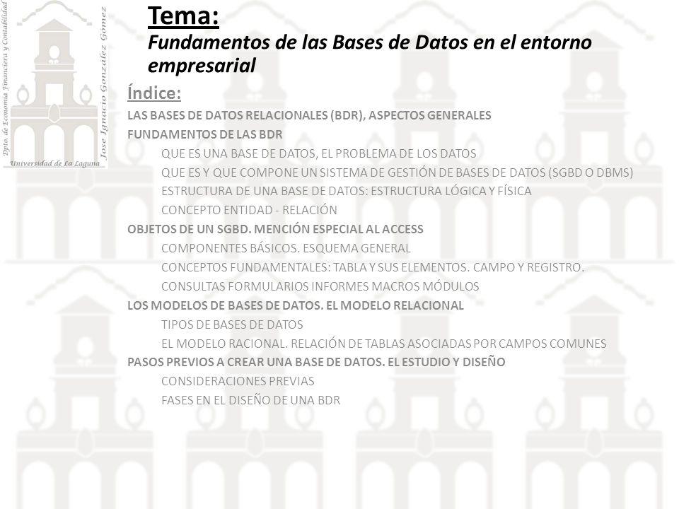 1 Las BDR, aspectos generales.
