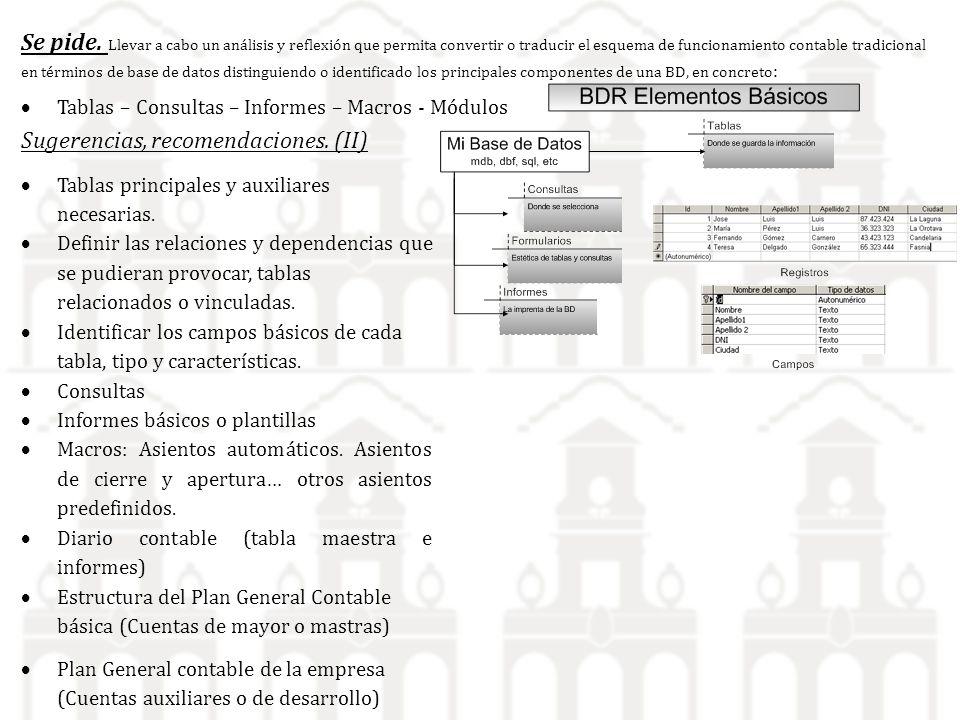 Se pide. Llevar a cabo un análisis y reflexión que permita convertir o traducir el esquema de funcionamiento contable tradicional en términos de base