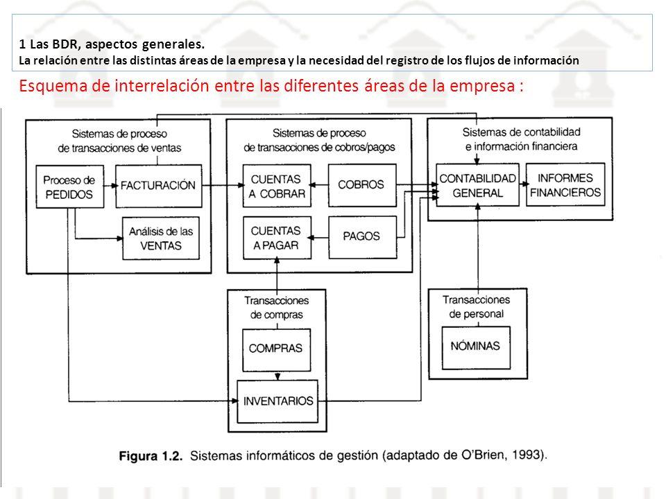 1 Las BDR, aspectos generales. La relación entre las distintas áreas de la empresa y la necesidad del registro de los flujos de información Esquema de