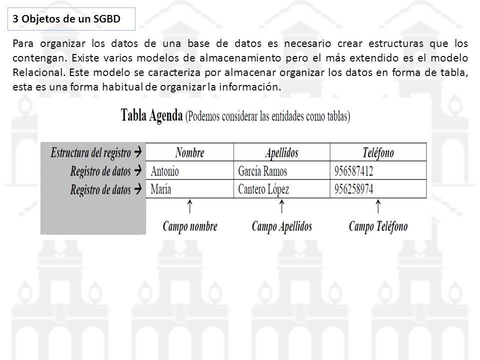 3 Objetos de un SGBD Para organizar los datos de una base de datos es necesario crear estructuras que los contengan. Existe varios modelos de almacena