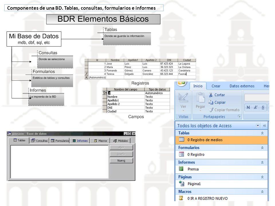 Componentes de una BD. Tablas, consultas, formularios e informes
