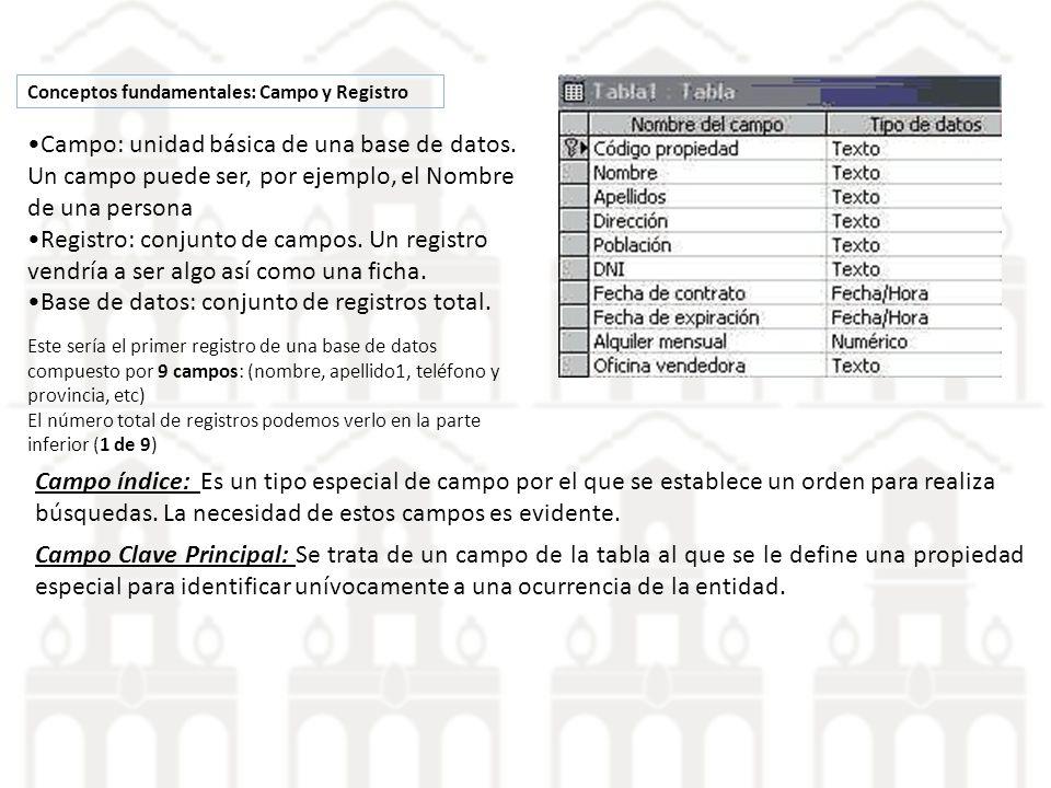 Conceptos fundamentales: Campo y Registro Campo: unidad básica de una base de datos. Un campo puede ser, por ejemplo, el Nombre de una persona Registr