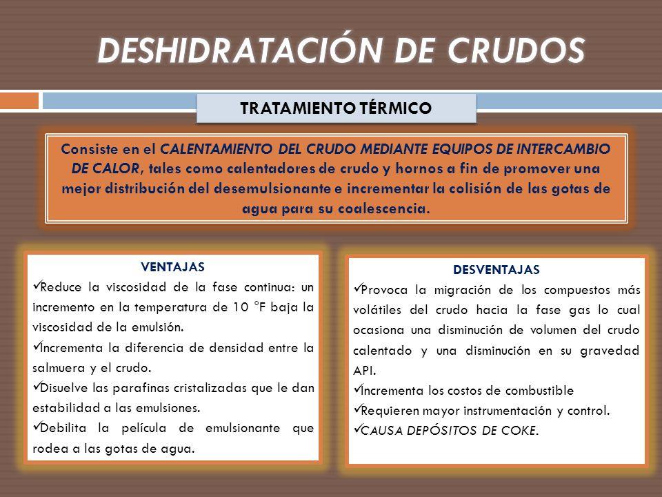 TRATAMIENTO TÉRMICO Consiste en el CALENTAMIENTO DEL CRUDO MEDIANTE EQUIPOS DE INTERCAMBIO DE CALOR, tales como calentadores de crudo y hornos a fin d