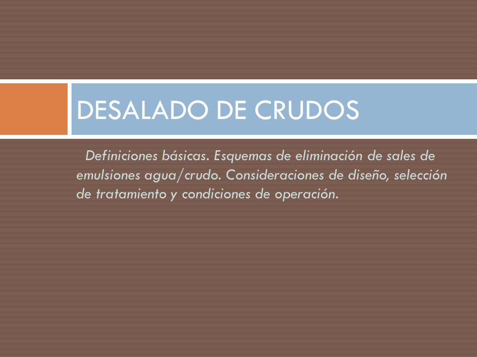 Definiciones básicas. Esquemas de eliminación de sales de emulsiones agua/crudo. Consideraciones de diseño, selección de tratamiento y condiciones de