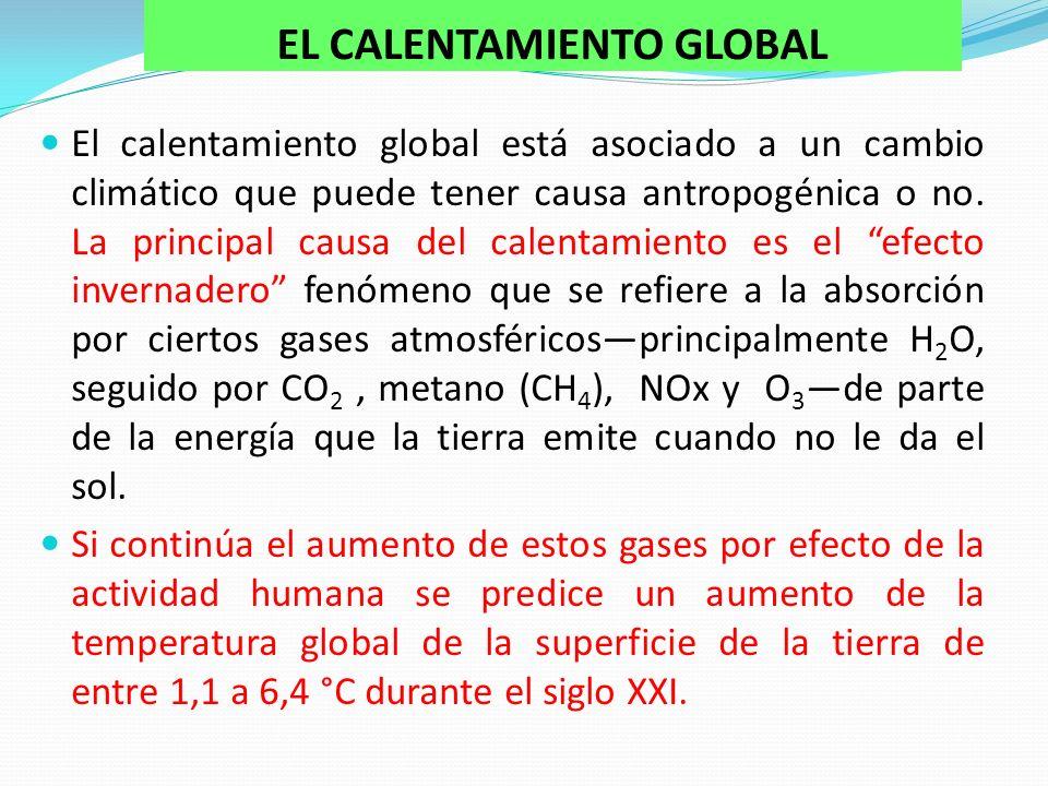 EL CALENTAMIENTO GLOBAL El calentamiento global está asociado a un cambio climático que puede tener causa antropogénica o no.