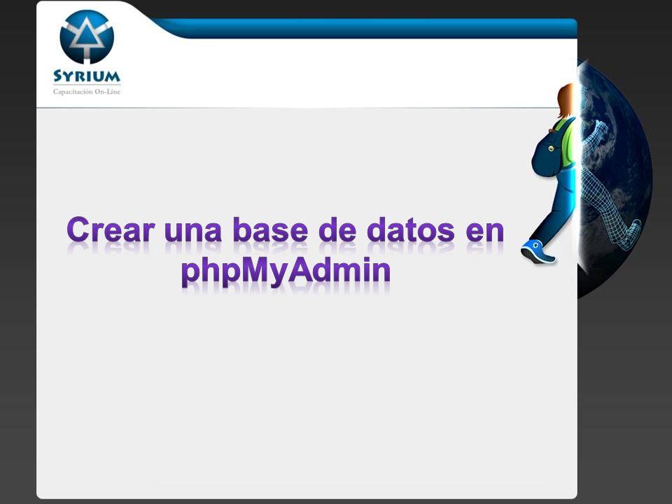 Vamos a crear nuestra primera base de datos utilizando el phpMyadmin.