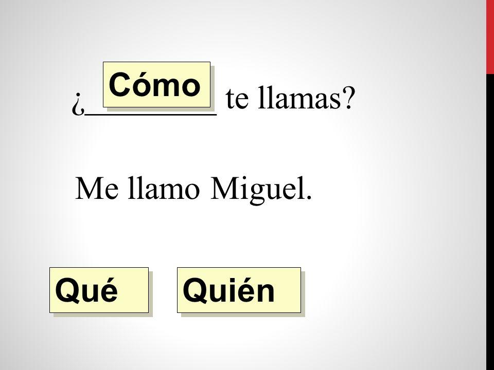 ¿________ te llamas Me llamo Miguel. Quién Qué Cómo