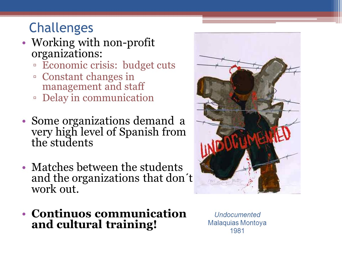 Challenges Working with non-profit organizations: Economic crisis: budget cuts Constant changes in management and staff Delay in communication Some or