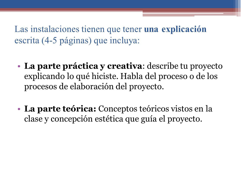 Las instalaciones tienen que tener una explicación escrita (4-5 páginas) que incluya: La parte práctica y creativa: describe tu proyecto explicando lo qué hiciste.