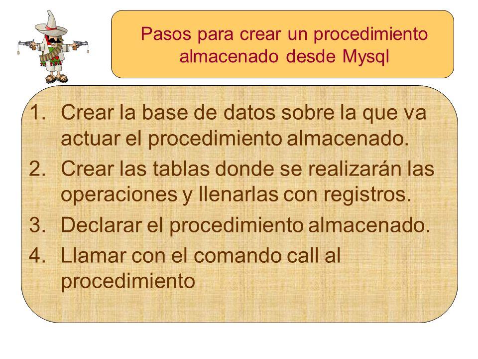 Pasos para crear un procedimiento almacenado desde Mysql 1.Crear la base de datos sobre la que va actuar el procedimiento almacenado. 2.Crear las tabl