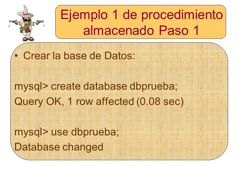 Ejemplo 1 de procedimiento almacenado Paso 1 Crear la base de Datos: mysql> create database dbprueba; Query OK, 1 row affected (0.08 sec) mysql> use d