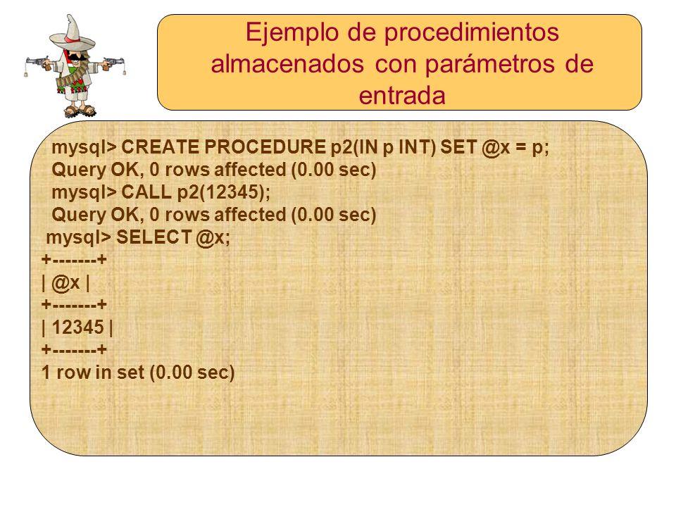 Ejemplo de procedimientos almacenados con parámetros de entrada mysql> CREATE PROCEDURE p2(IN p INT) SET @x = p; Query OK, 0 rows affected (0.00 sec)