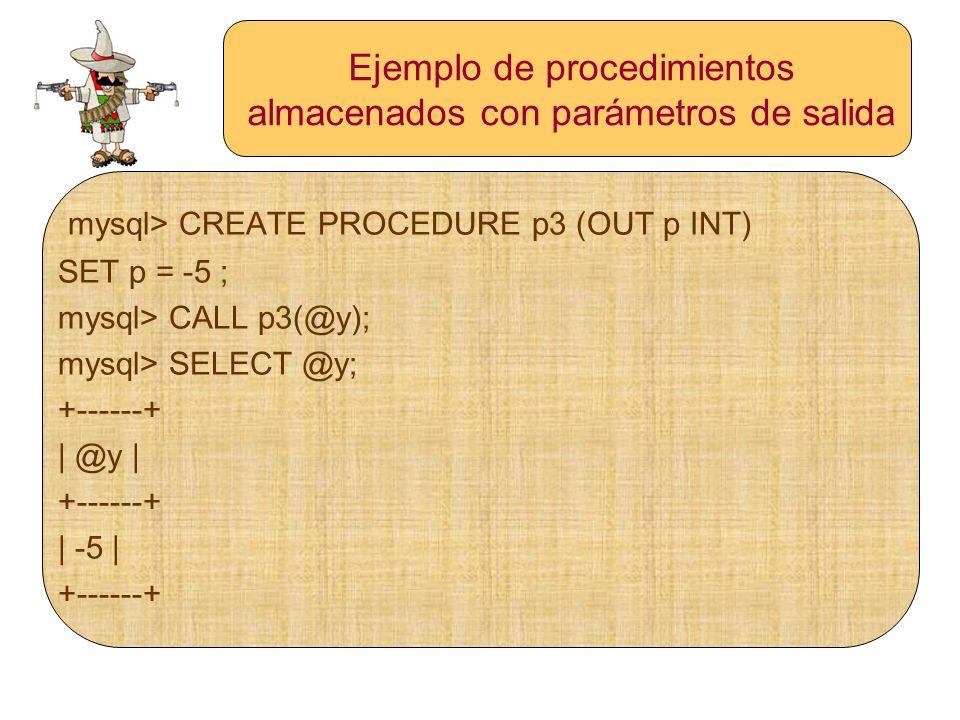 Ejemplo de procedimientos almacenados con parámetros de salida mysql> CREATE PROCEDURE p3 (OUT p INT) SET p = -5 ; mysql> CALL p3(@y); mysql> SELECT @