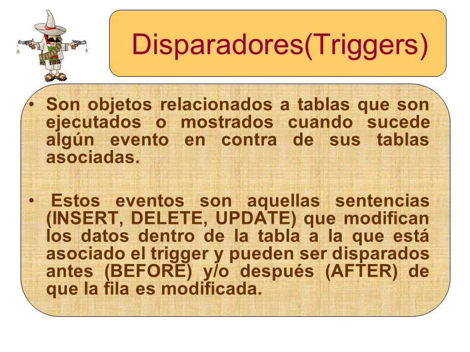 Disparadores(Triggers) Son objetos relacionados a tablas que son ejecutados o mostrados cuando sucede algún evento en contra de sus tablas asociadas.
