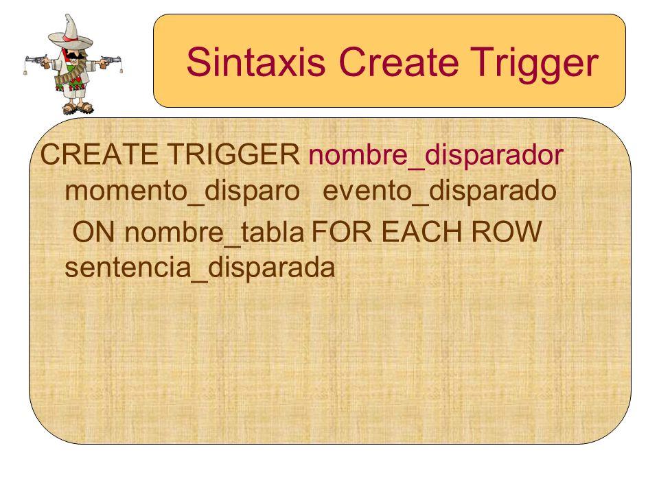 Sintaxis Create Trigger CREATE TRIGGER nombre_disparador momento_disparo evento_disparado ON nombre_tabla FOR EACH ROW sentencia_disparada