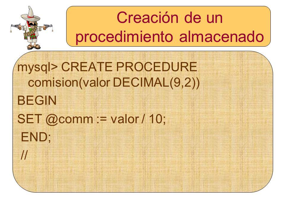 Creación de un procedimiento almacenado mysql> CREATE PROCEDURE comision(valor DECIMAL(9,2)) BEGIN SET @comm := valor / 10; END; //
