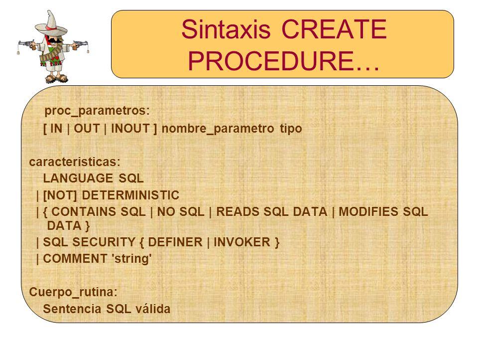 Sintaxis DROP PROCEDURE DROP {PROCEDURE | FUNCTION} [IF EXISTS] sp_name;